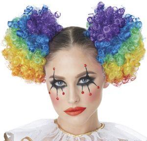 Adult Rainbow Clown Puff Wig