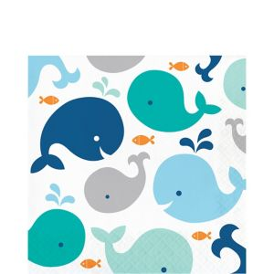 Blue Baby Whale Lunch Napkins 16ct
