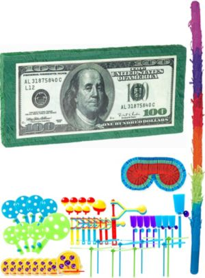 One Hundred Dollar Bill Pinata Kit with Favors