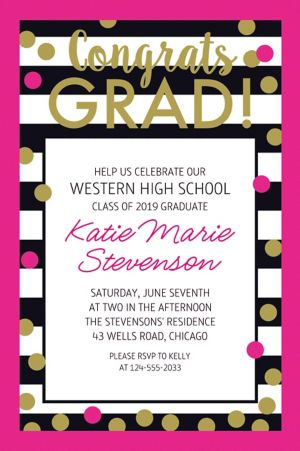 Custom Confetti Graduation Invitation