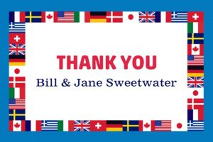 Custom World Flags Thank You Note