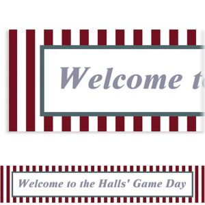 Custom Maroon and Gray Stripes Banner