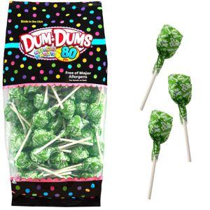 Kiwi Green Dum Dums Lollipops 80pc