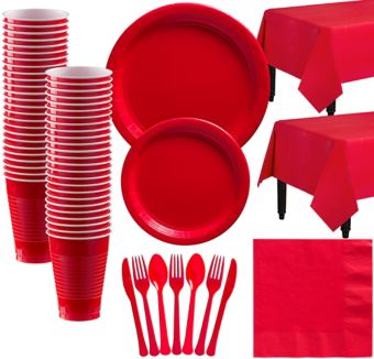Red Paper Tableware Kit for 50 Guests