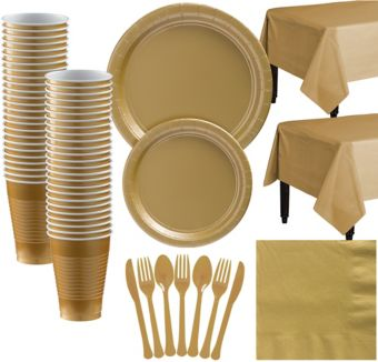 Gold Paper Tableware Kit for 50 Guests