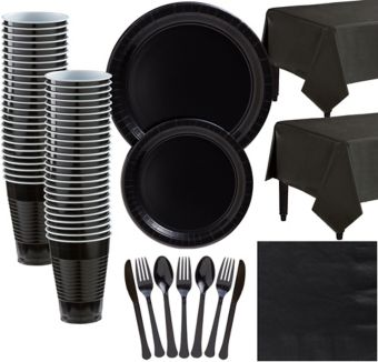 Black Paper Tableware Kit for 50 Guests