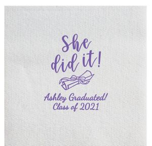 Personalized Graduation Luxury Deville Side-Fold Dinner Napkins