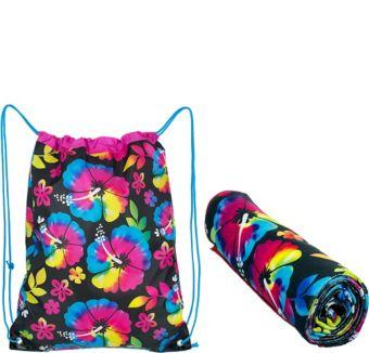 Neon Hibiscus Beach Towel & Backpack
