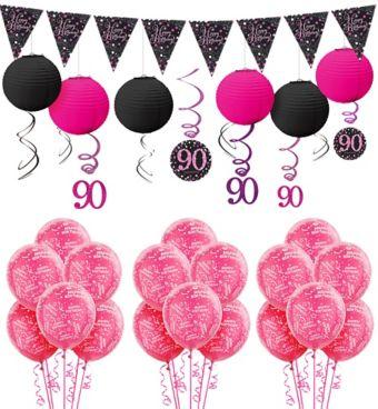 90th Birthday Pink Sparkling Celebration Decorating Kit