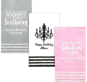 Personalized Birthday Stripe Border Guest Towels