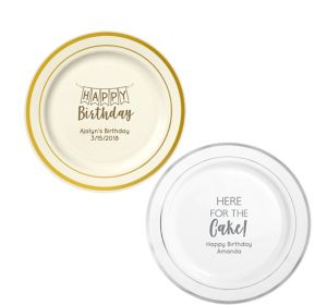 Personalized Birthday Trimmed Premium Plastic Dinner Plates