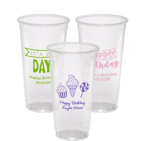 Personalized Birthday Plastic Party Cups 24oz