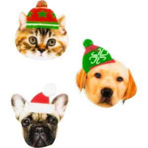 Dogs & Cat Christmas Pins 3ct