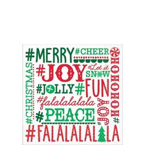 Holiday Hashtags Beverage Napkins 16ct