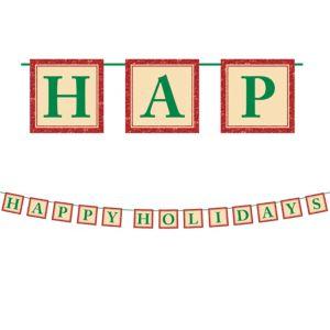 Glitter Happy Holidays Letter Banner