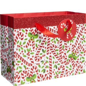 Small Glitter Candy Cane Christmas Gift Bag