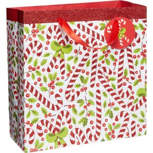 Glitter Candy Cane Christmas Gift Bag