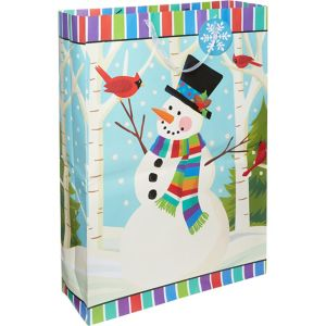 Giant Colorful Smiling Snowman Gift Bag