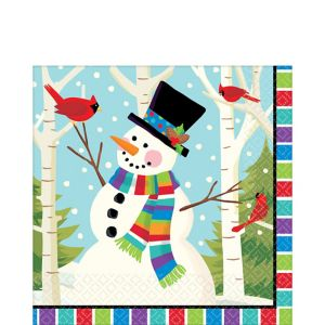 Colorful Smiling Snowman Lunch Napkins 125ct