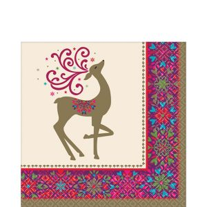 Whimsical Winter Deer Lunch Napkins 36ct