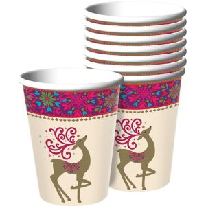 Whimsical Winter Deer Cups 18ct