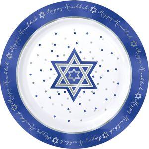 Happy Hanukkah Premium Plastic Dinner Plates 10ct