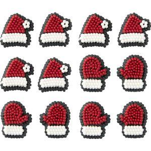 Santa Hats & Mittens Icing Decorations 24ct