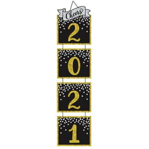 Giant Glitter Black, Gold & Silver New Year's Stacked Sign