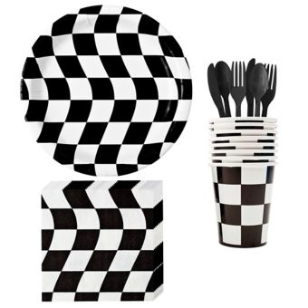 Black & White Checkered Basic Tableware Kit for 8 Guests