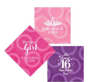 Personalized Girls Birthday Circles Lunch Napkins