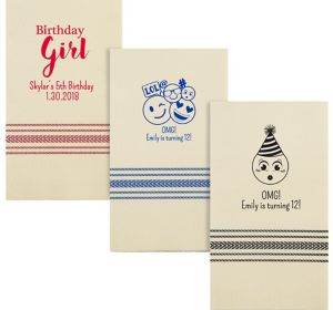 Personalized Girls Birthday Herringbone Guest Towels
