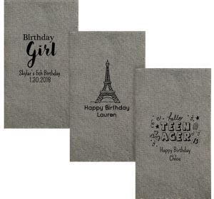 Personalized Girls Birthday Tweed Print Guest Towels