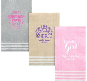 Personalized Girls Birthday Stripe Border Guest Towels