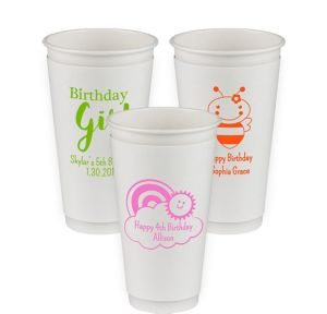 Personalized Girls Birthday Insulated Paper Cups 20oz