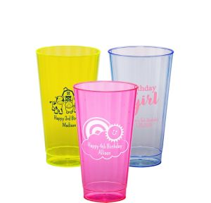 Personalized Girls Birthday Neon Hard Plastic Cups 16oz