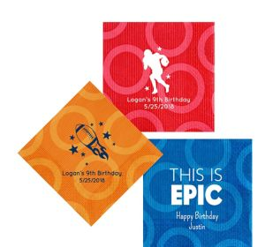Personalized Boys Birthday Circles Lunch Napkins