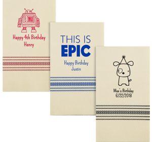 Personalized Boys Birthday Herringbone Guest Towels