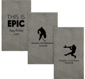 Personalized Boys Birthday Tweed Print Guest Towels