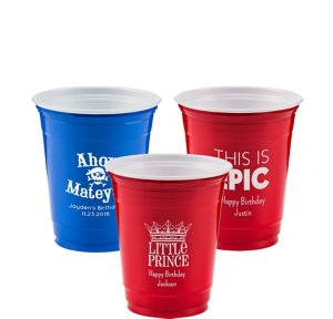 Personalized Boys Birthday Solid Color Plastic Party Cups 12oz