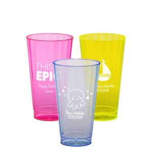 Personalized Boys Birthday Neon Hard Plastic Cups 16oz