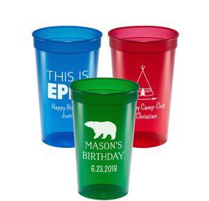 Personalized Boys Birthday Translucent Plastic Stadium Cups 22oz