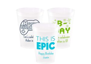 Personalized Boys Birthday Frosted Plastic Shatterproof Cups 12oz