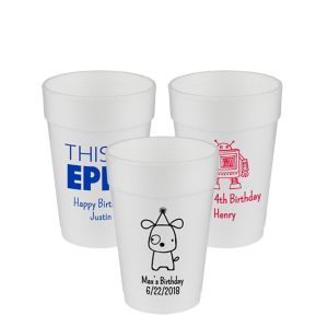 Personalized Boys Birthday Foam Cups 14oz