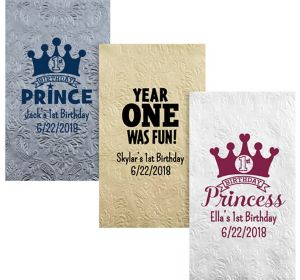 Personalized 1st Birthday Embossed Damask Guest Towels