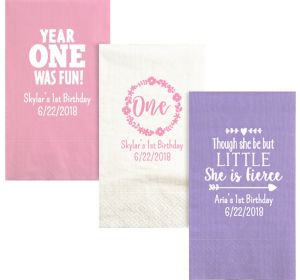 Personalized 1st Birthday Moire Guest Towels