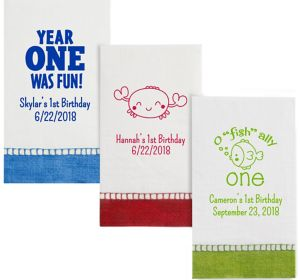 Personalized 1st Birthday Bordered Guest Towels