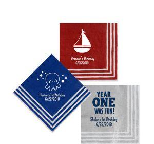 Personalized 1st Birthday Stripe Border Beverage Napkins