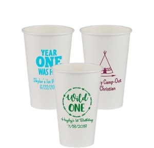 Personalized 1st Birthday Paper Cups 16oz