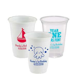 Personalized 1st Birthday Plastic Party Cups 16oz