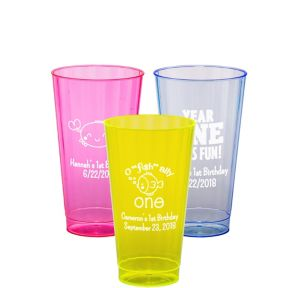 Personalized 1st Birthday Neon Hard Plastic Cups 16oz
